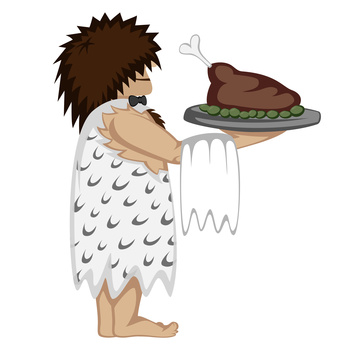 Prehistoric waiter with a tray and paleo food (cartoon style)